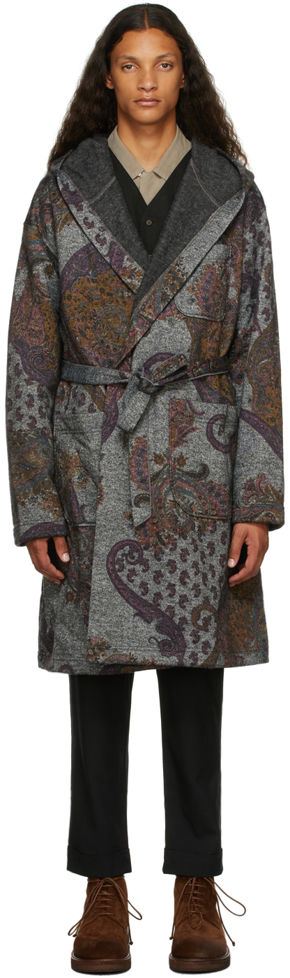 Grey & Purple Paisley Robe