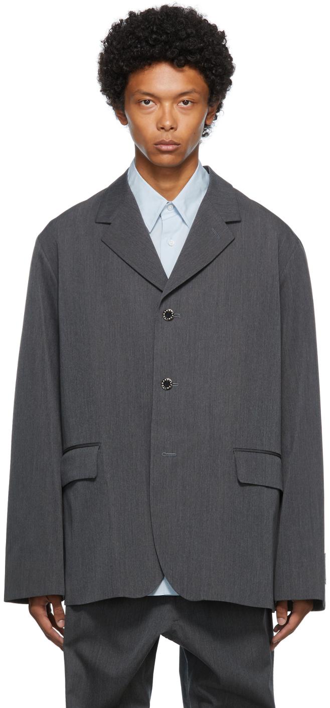 Grey Wool Flattened Blazer