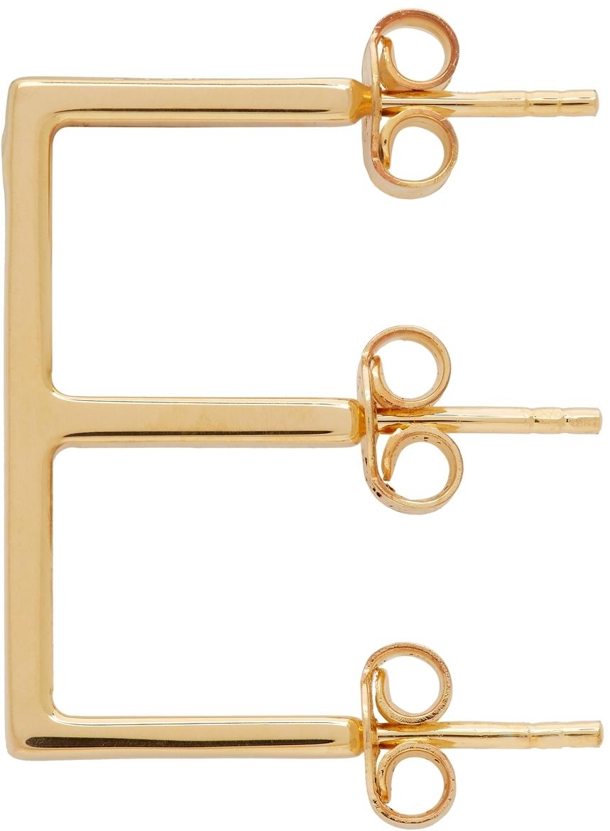 Gold Alphabet 'E' Single Earring