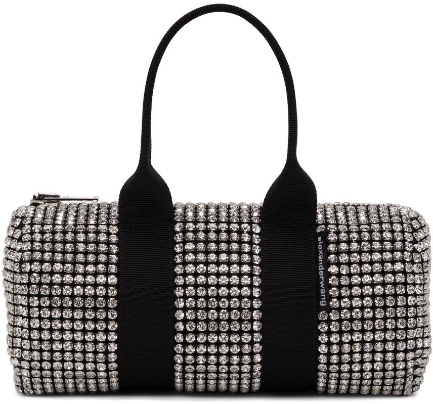 Alexander Wang Black & White Crystal Mini Cruiser Duffle Bag