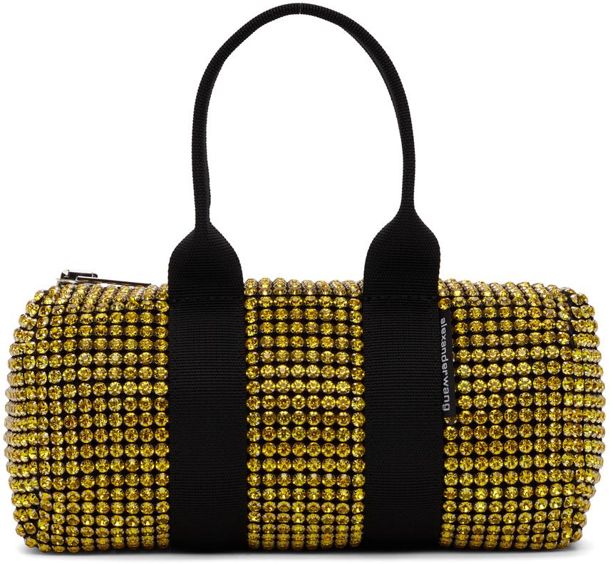 Alexander Wang Black & Yellow Crystal Mini Cruiser Duffle Bag
