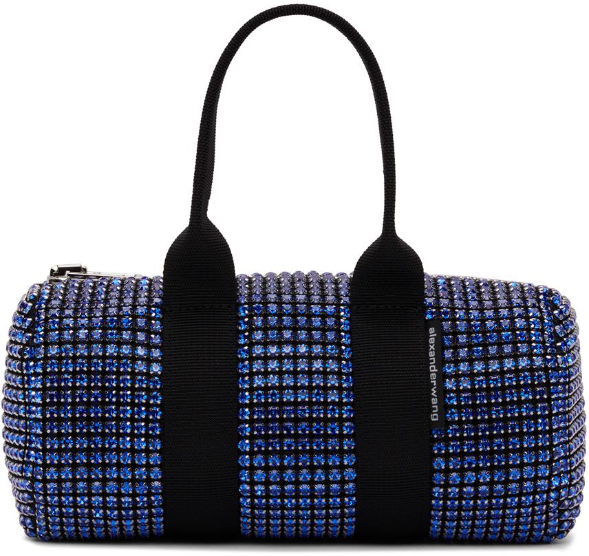 Alexander Wang Black & Blue Crystal Mini Cruiser Duffle Bag