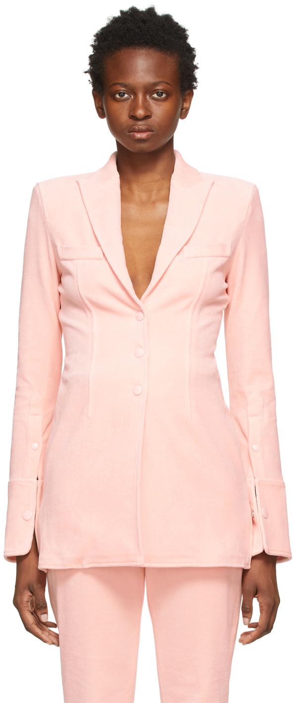 Alexander Wang Pink Peak Lapel Shirt Blazer
