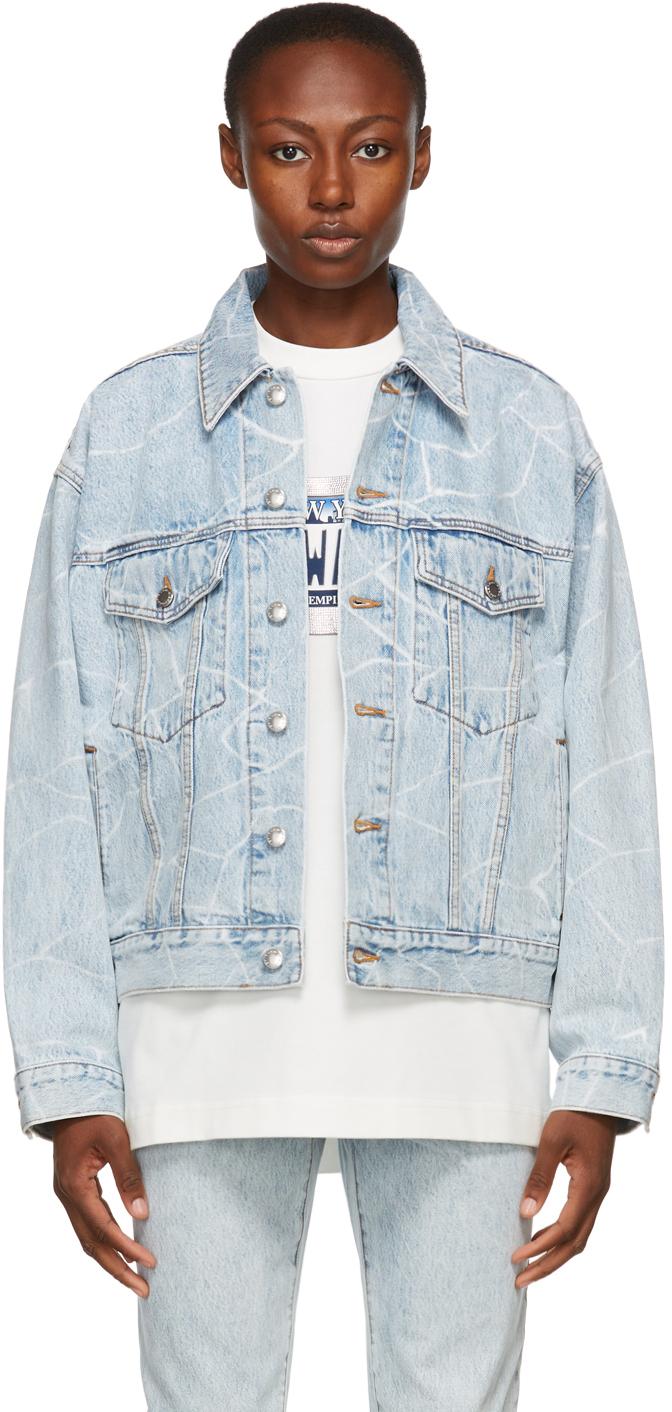 Alexander Wang Blue Denim Bleached Oversized Jacket