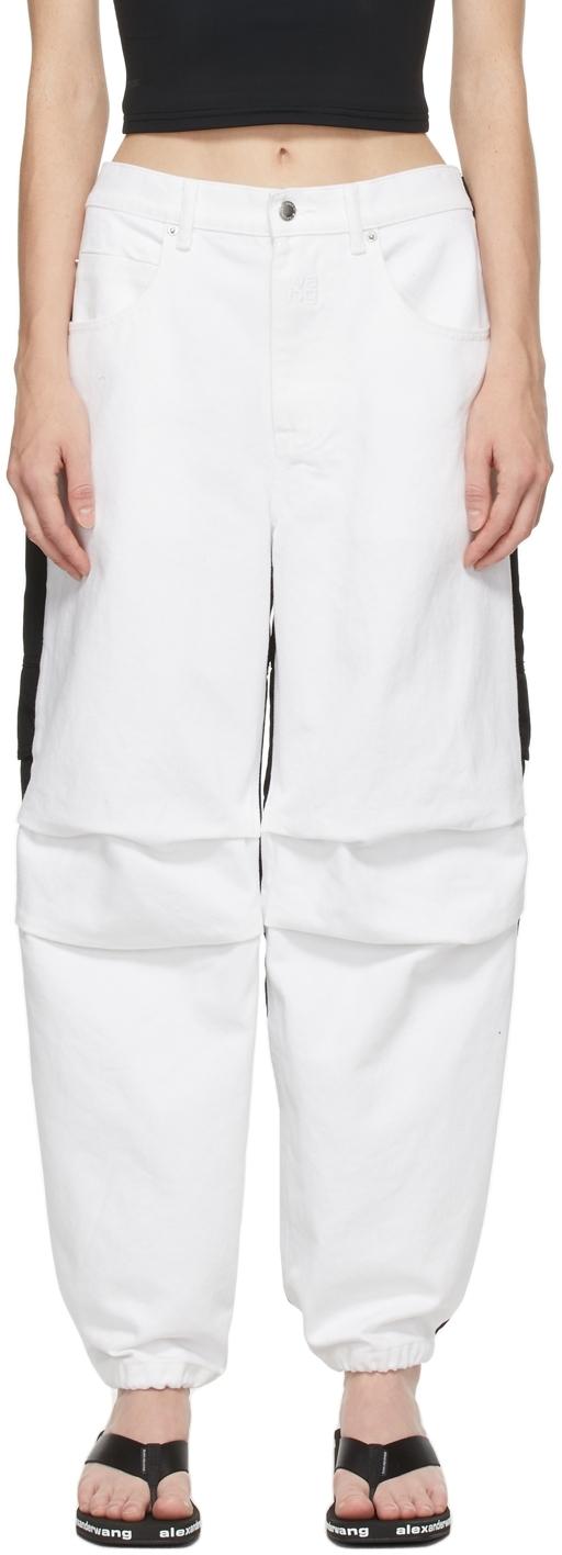 Alexander Wang White & Black Hybrid Cargo Jeans
