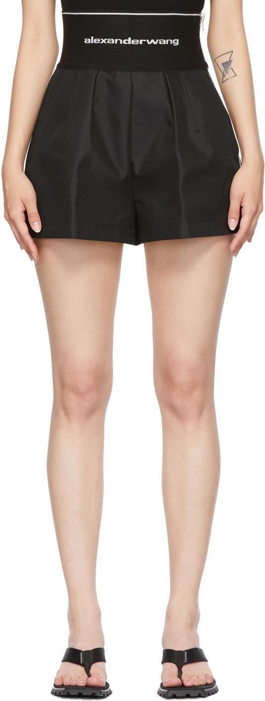 Alexander Wang Black Logo Elastic Safari Shorts