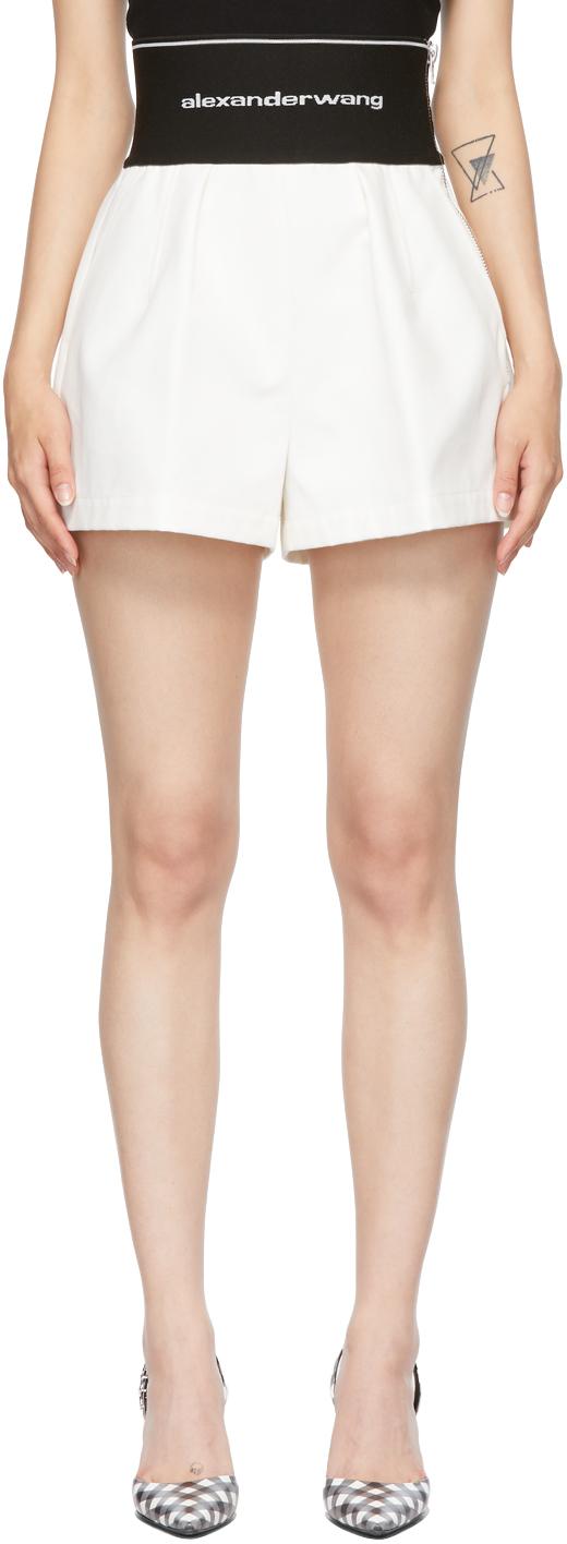 Alexander Wang White Logo Elastic Safari Shorts