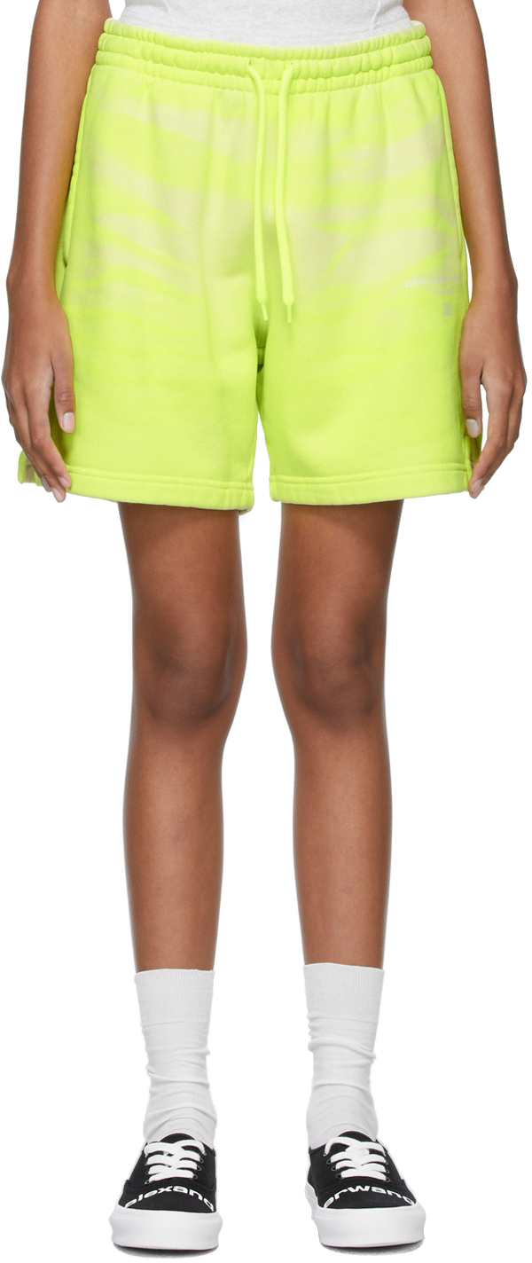 Alexander Wang Yellow Garment-Dyed Sweat Shorts