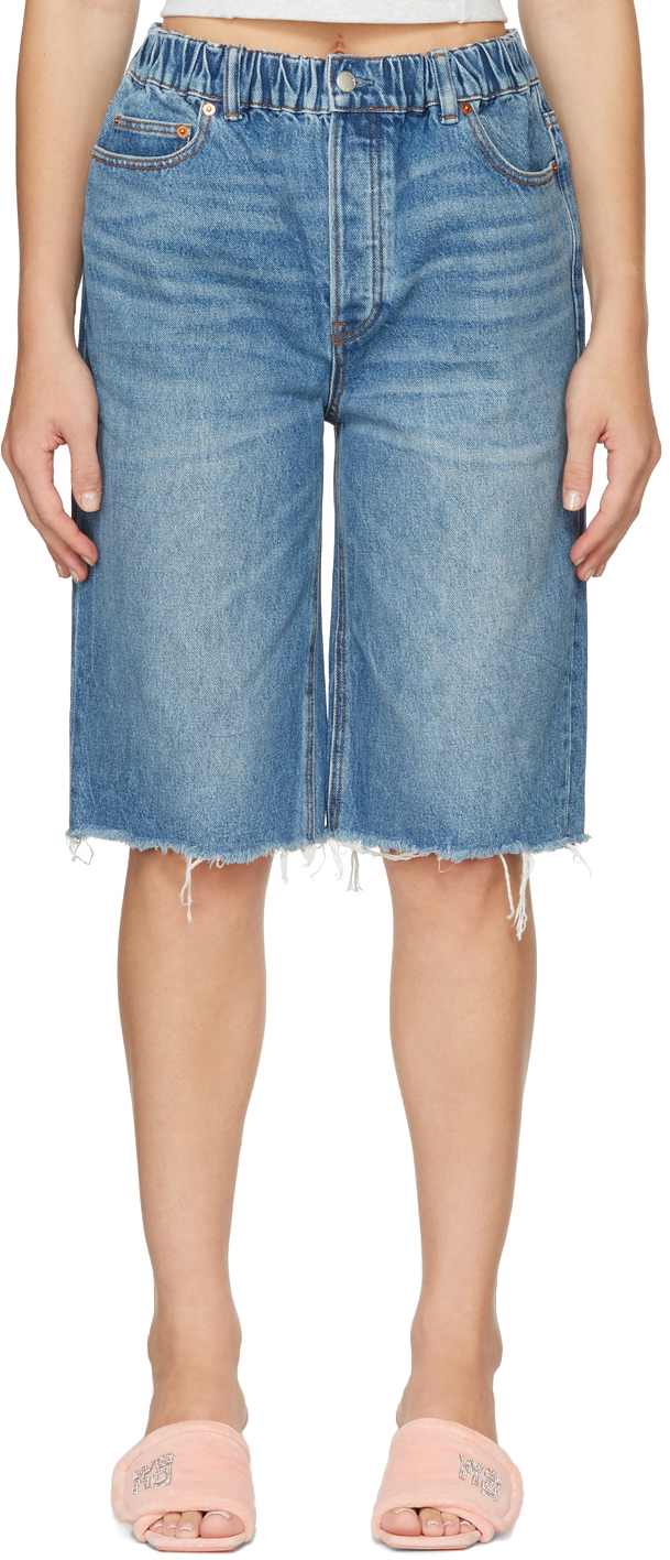 Alexander Wang Oversized Elasticized Waistband Denim Shorts