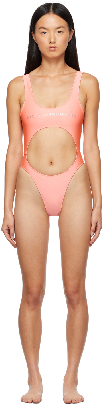 Alexander Wang Pink Crystal Logo Cut-Out One-Piece Swimsuit