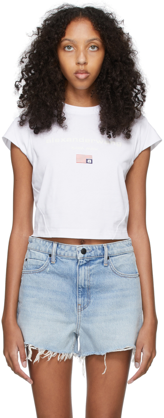 Alexander Wang White Bubble Sleeve T-Shirt