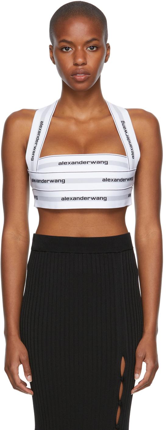 Alexander Wang White Logo Elastic Bikini Halter Top