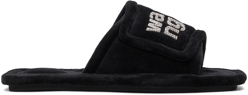 Alexander Wang Black Velour Lana Sandals