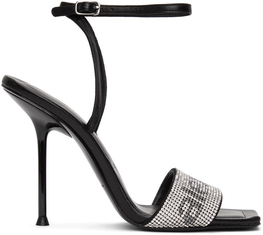 Alexander Wang Black Crystal Logo Julie Heeled Sandals
