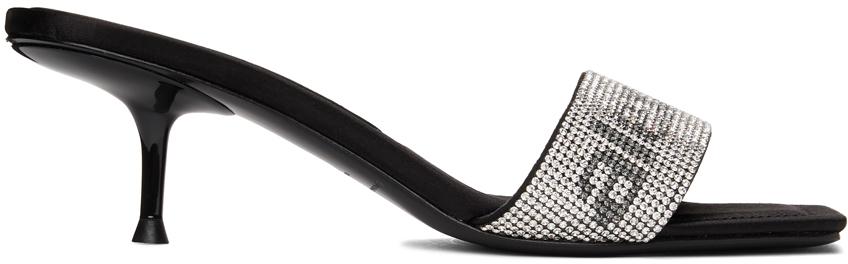 Alexander Wang Black Crystal Jessie Heeled Sandals