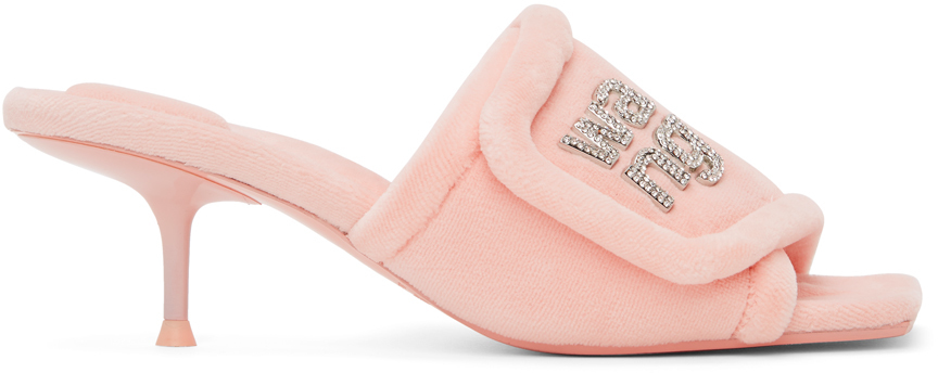 Alexander Wang Pink Padded Logo Jessie Heeled Sandals