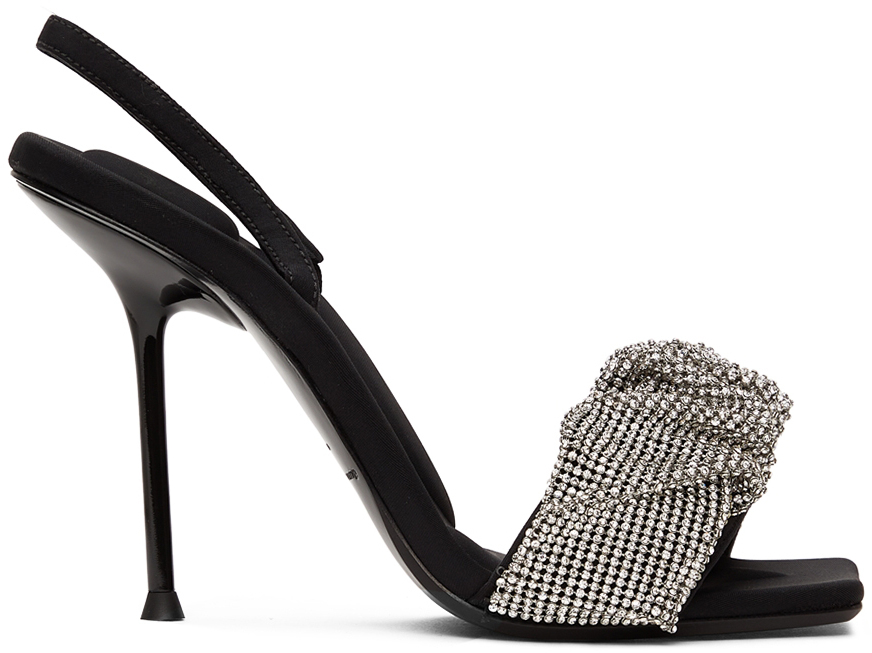 Alexander Wang Black Crystal Scrunchie Julie Heeled Sandals