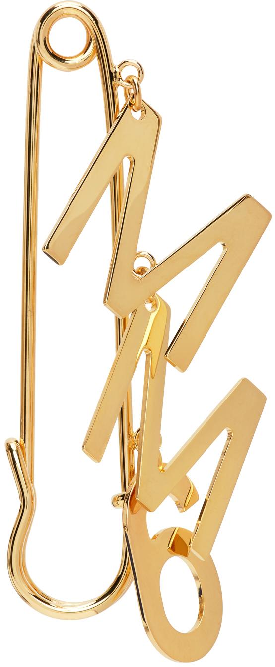 Gold Logo Brooch Single Earring