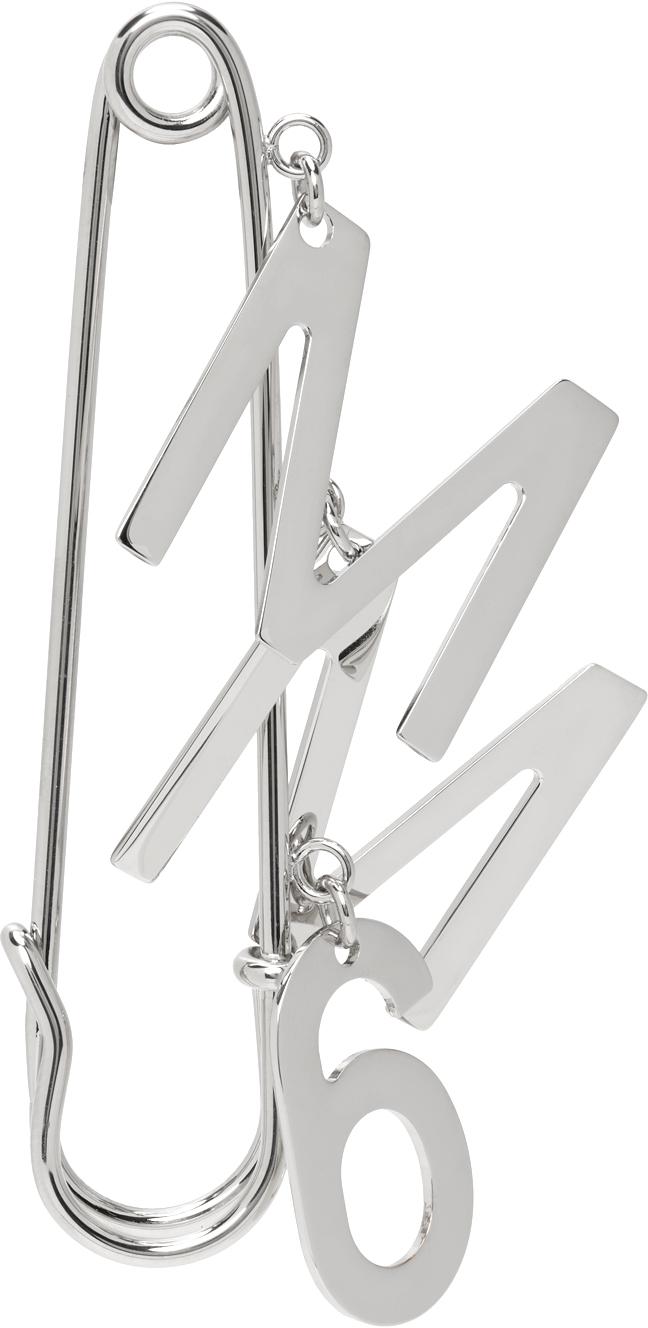 Silver Logo Brooch Single Earring