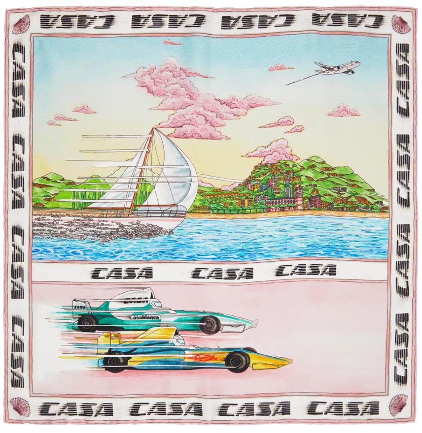 Multicolor Silk Racing On The Sea Scarf