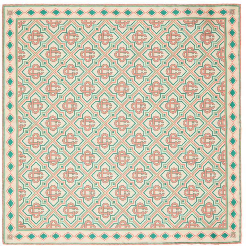 Beige Silk Monogram Scarf