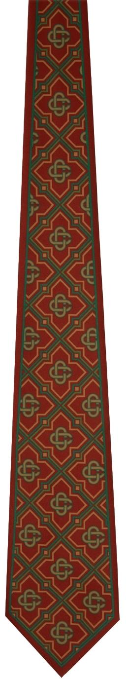 Burgundy Satin Monogram Tie