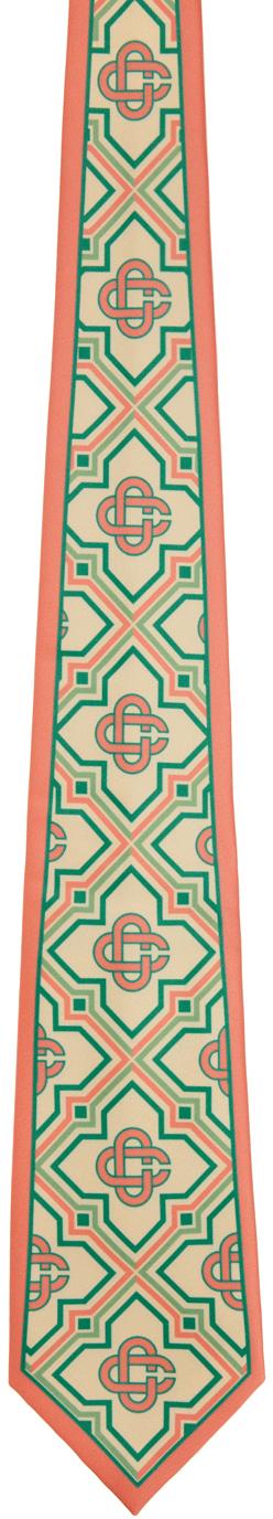 Beige & Pink Silk Monogram Tie
