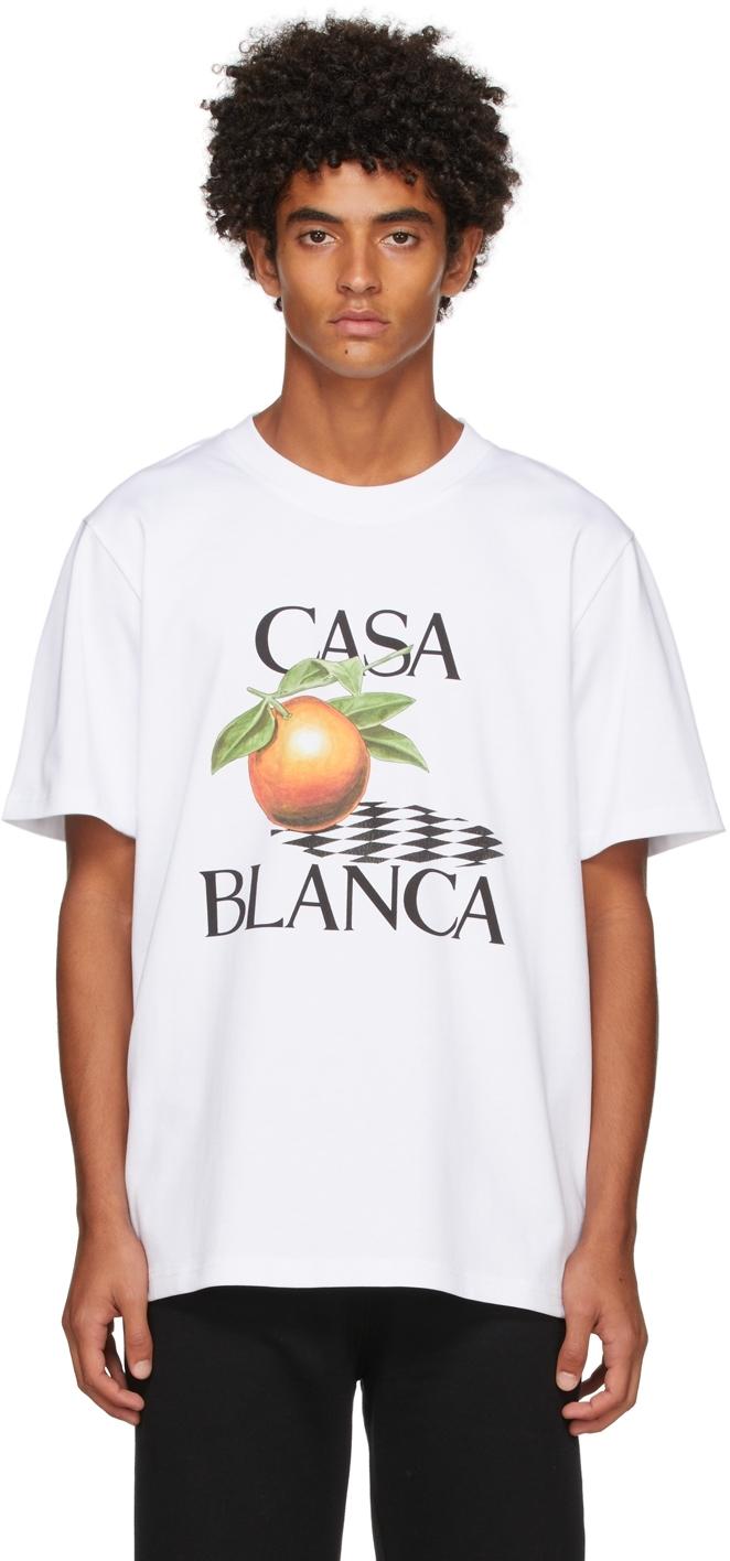 White Orange Print T-Shirt