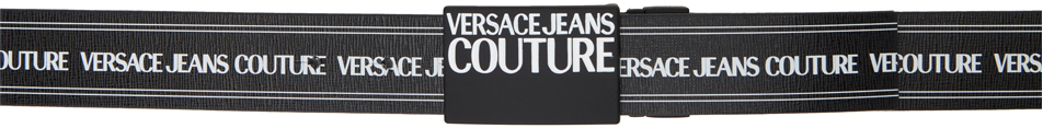 Versace Jeans Couture ブラック & ホワイト ロゴ ベルト