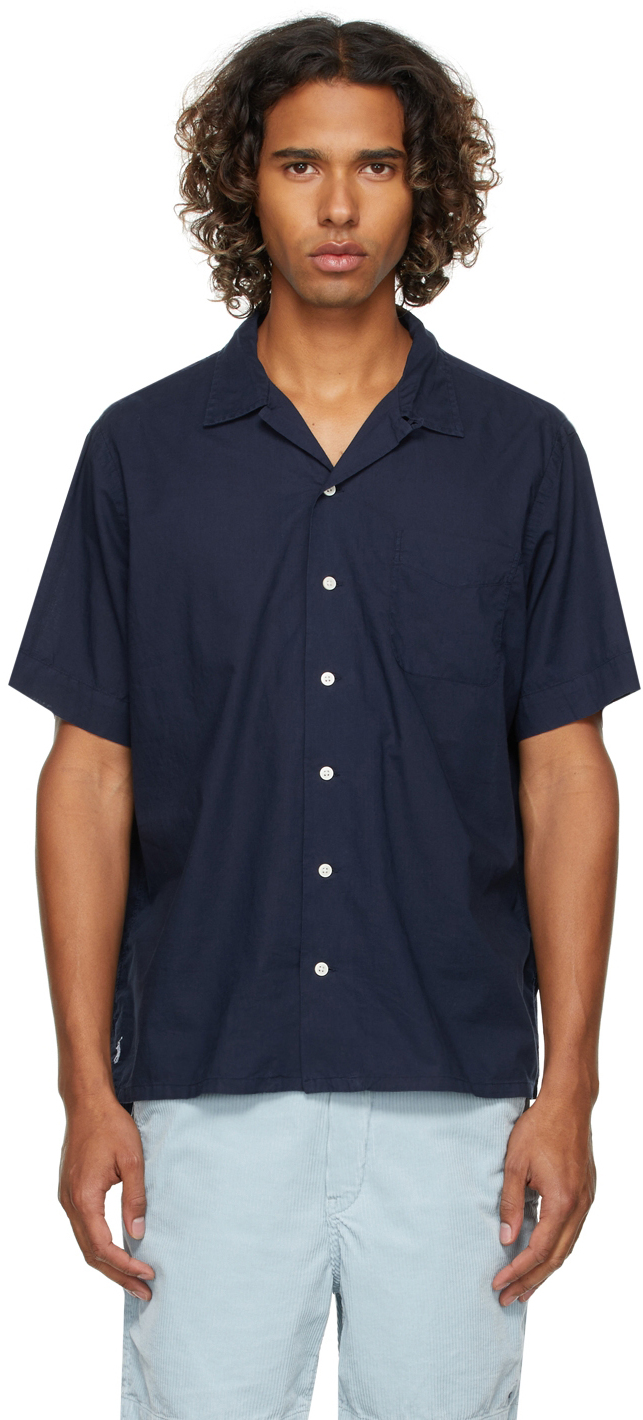 Navy Classic Fit Camp Short Sleeve Shirt