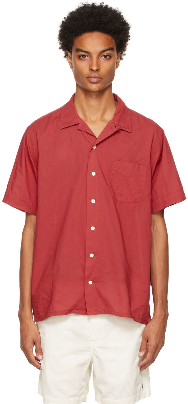 Red Classic Fit Camp Short Sleeve Shirt