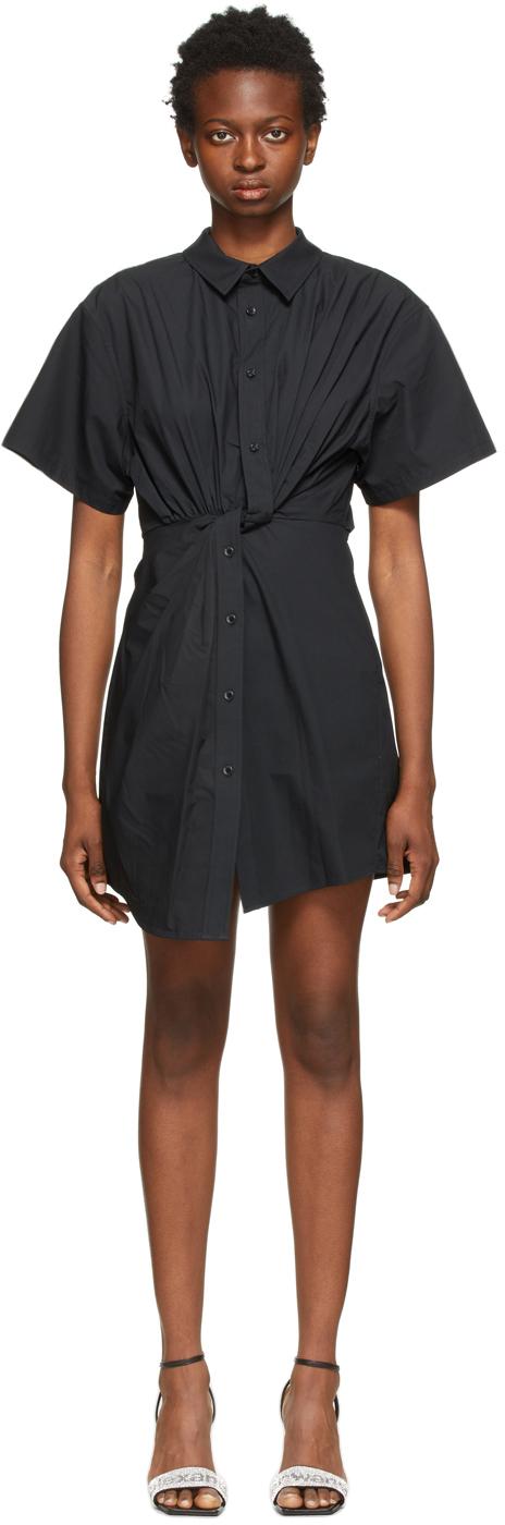 Black Twisted Placket Dress