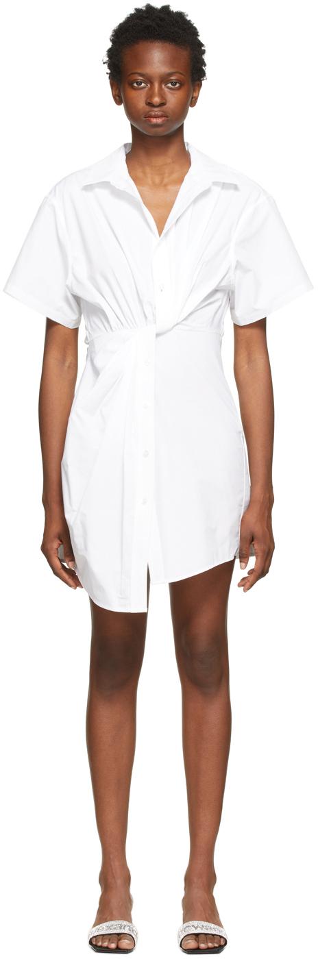 White Twisted Placket Dress