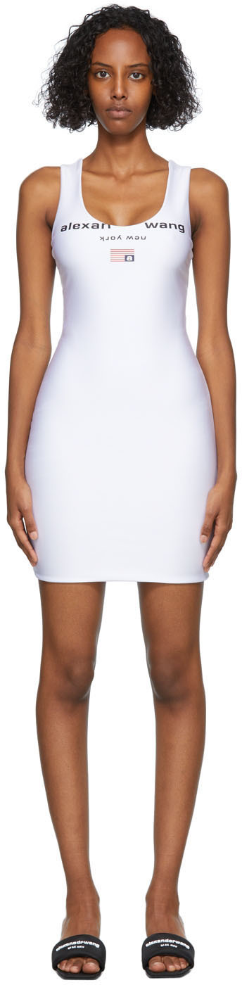 White Active Stretch Logo Tank Dress