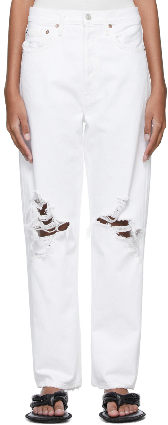 AGOLDE White 90s Mid-Rise Loose Fit Jeans