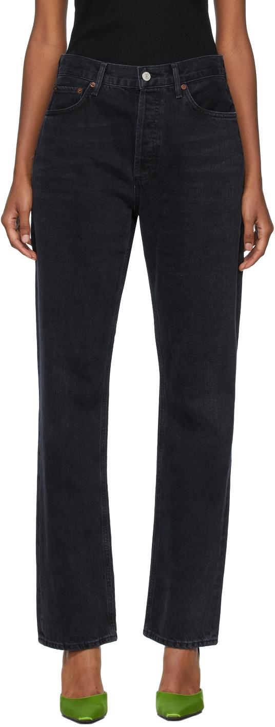 AGOLDE Black Lana Mid-Rise Vintage Straight Jeans