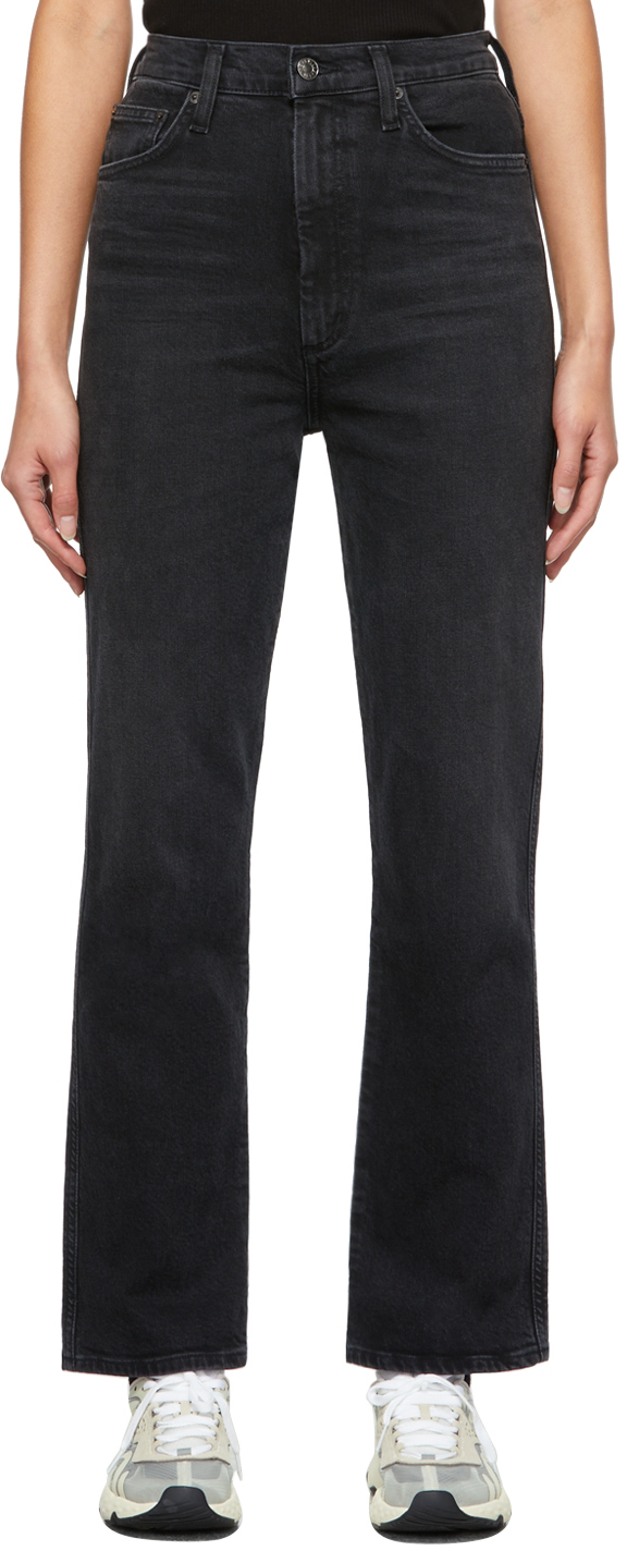 AGOLDE Black Pinch Waist High-Rise Kick Jeans