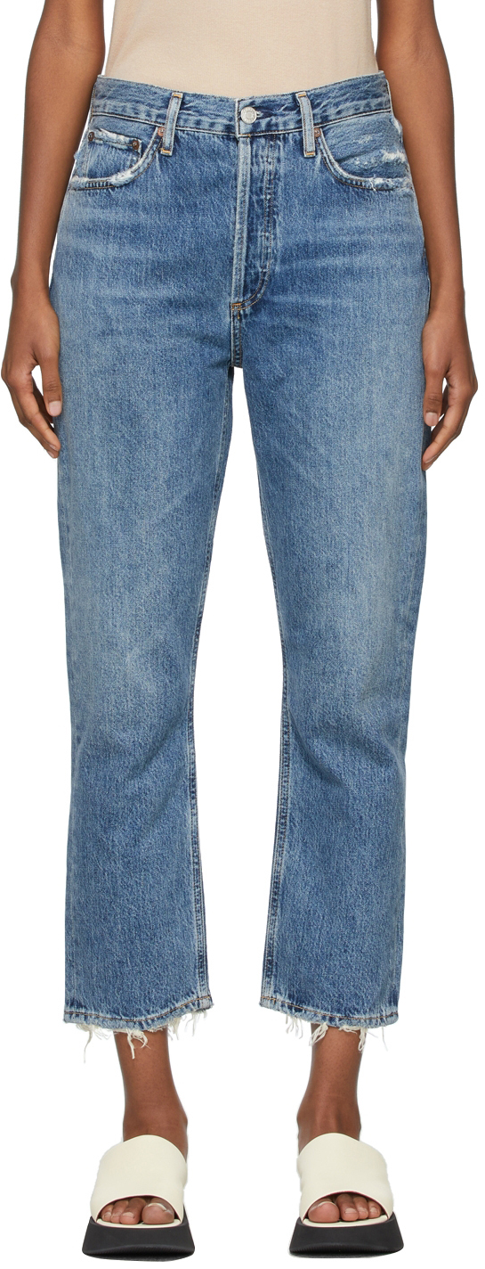 AGOLDE Blue Riley High-Rise Straight Crop Jeans