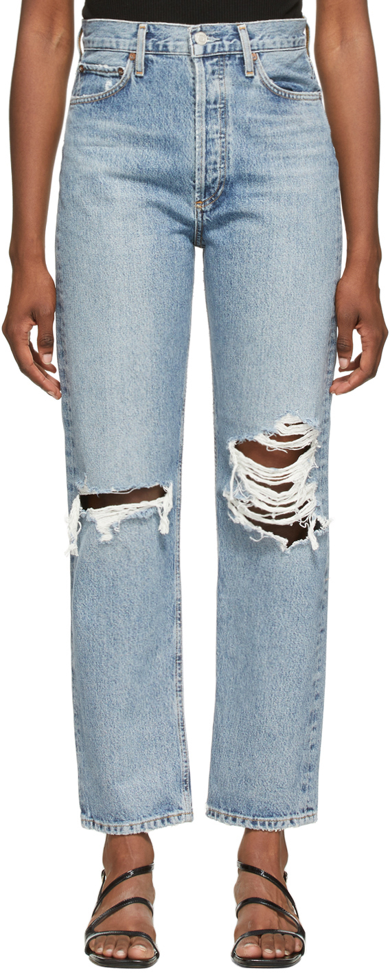 AGOLDE Blue Ripped '90s Pinch Waist High Rise Jeans
