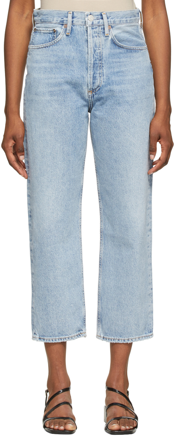 AGOLDE Blue '90s Crop Mid-Rise Loose Fit Jeans