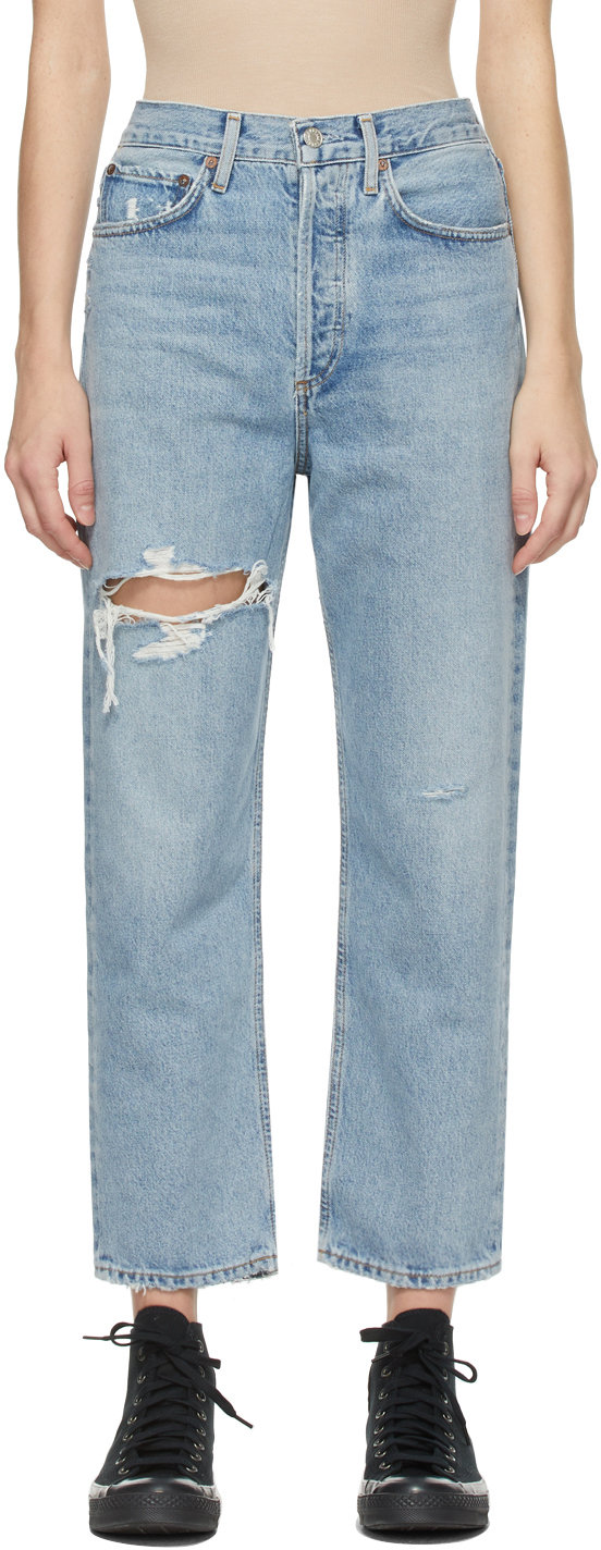 AGOLDE Blue Distressed '90s Crop Mid-Rise Loose-Fit Jeans