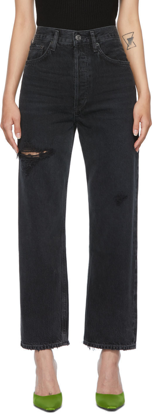 AGOLDE Black 90s Crop Mid-Rise Loose Fit Jeans