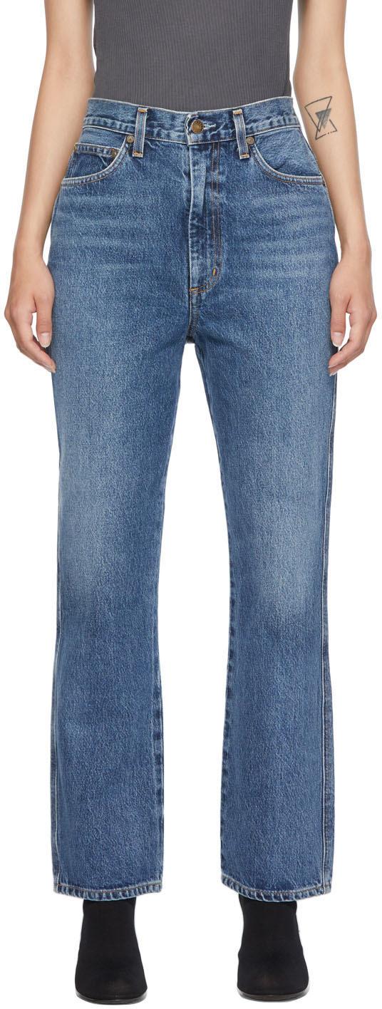 AGOLDE Blue Pinch Waist High-Rise Kick Jeans