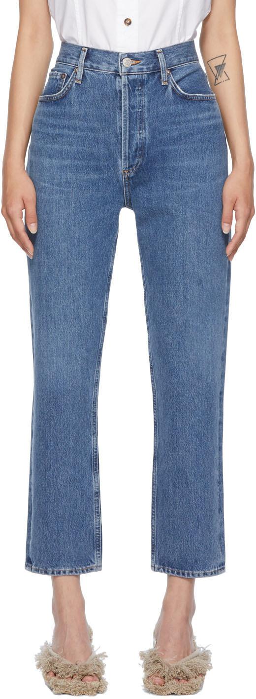 AGOLDE Blue Riley High-Rise Straight-Leg Crop Jeans