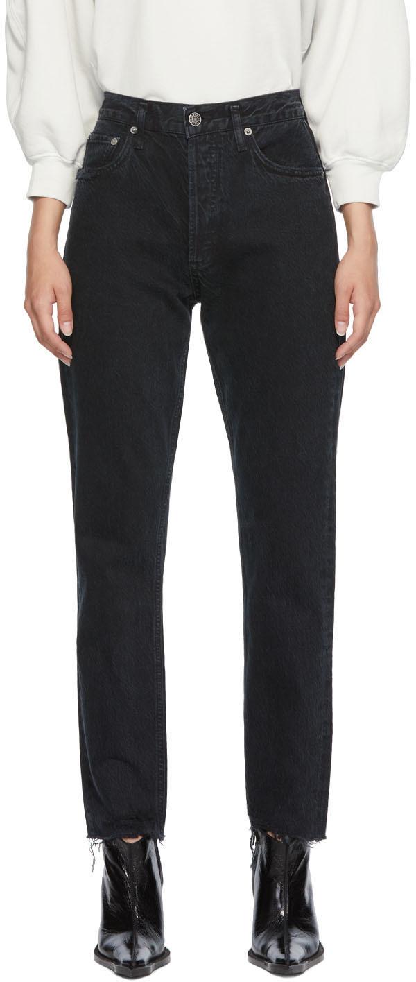 AGOLDE Black Jamie High-Rise Classic Jeans
