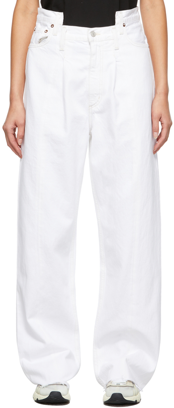 AGOLDE White Pieced Angled Jeans