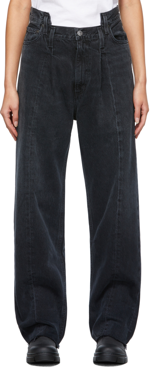 AGOLDE Black Pieced Angled Jeans