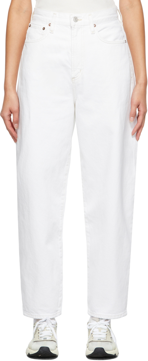 AGOLDE White Balloon Ultra High Rise Curved Taper Jeans