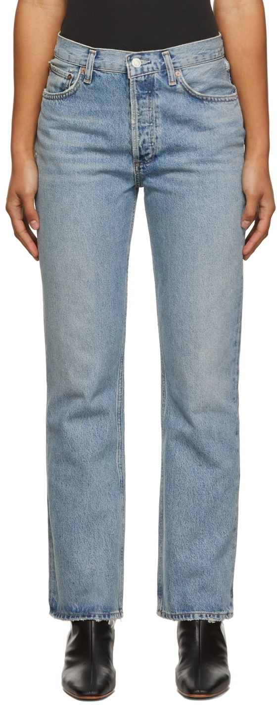 AGOLDE Blue Mid-Rise Relaxed Boot Jeans