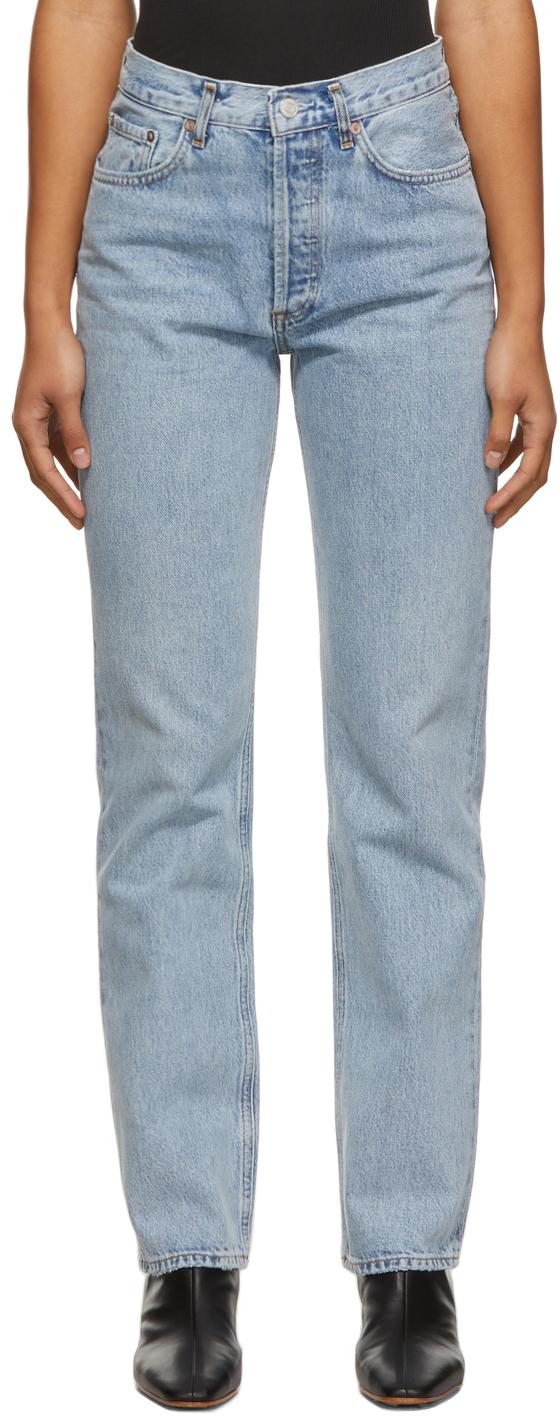 AGOLDE Blue Lana Mid-Rise Vintage Straight Jeans